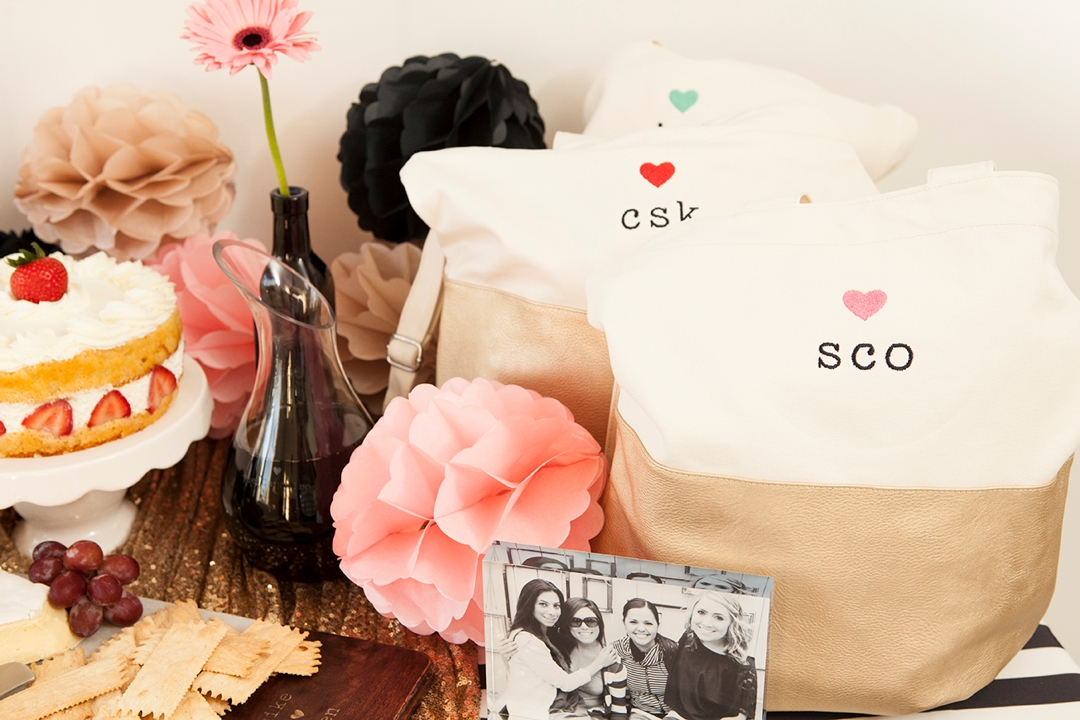Personalized metallic gold and canvas tote bags, the perfect bridal party gift!
