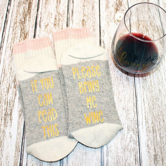 Adorable and hilarious wine socks on our etsy round up!