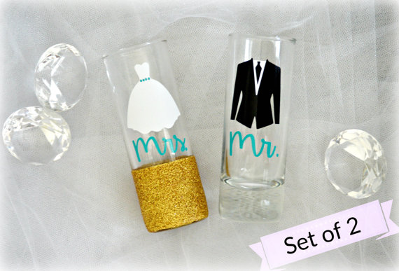 Darling Bride and Groom shot glasses are the perfect gift for the Mr. and Mrs. in your life!