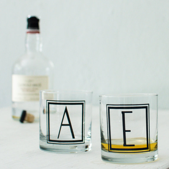 Darling monogrammed on the rocks glasses are the perfect gift!