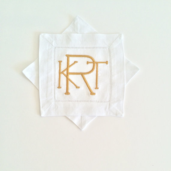 We love these darling monogrammed linen cocktail napkins!