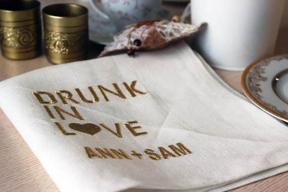 How adorable are these drunk in love cocktail napkins?! LOVE!