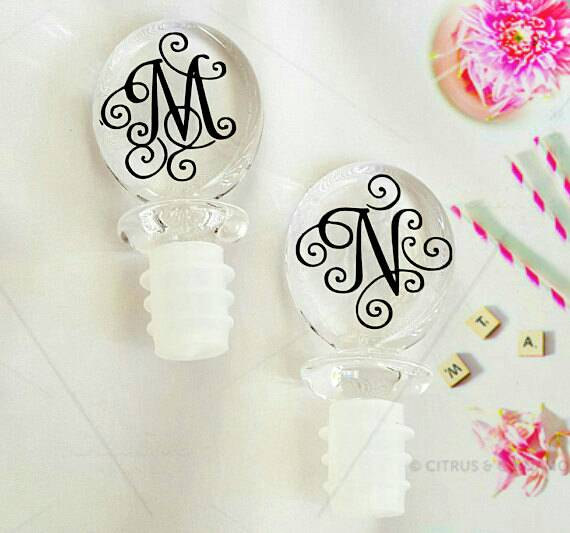 We love these cute monogrammed wine stoppers!