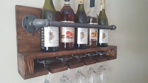 We love this wall wine bottle and glass rack for your home! Great gift idea!
