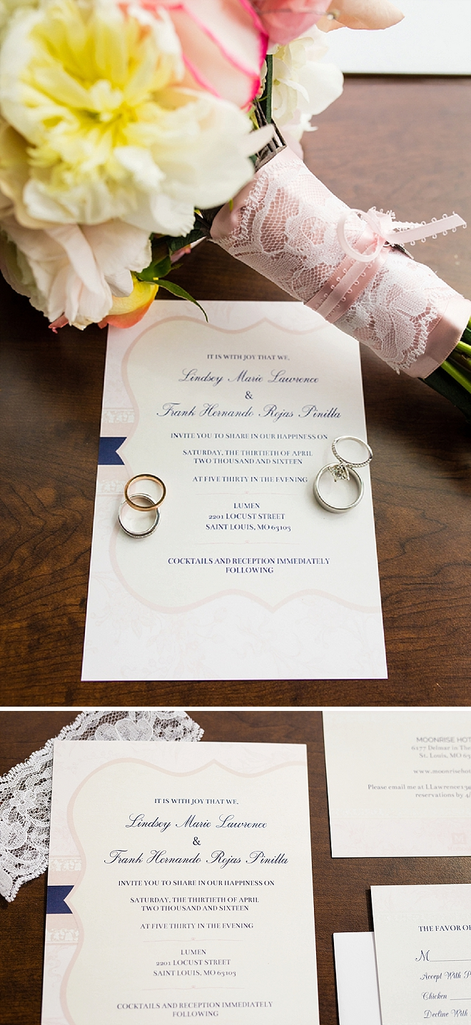 We love this Bride's stunning bouquet and handmade invitation suite!