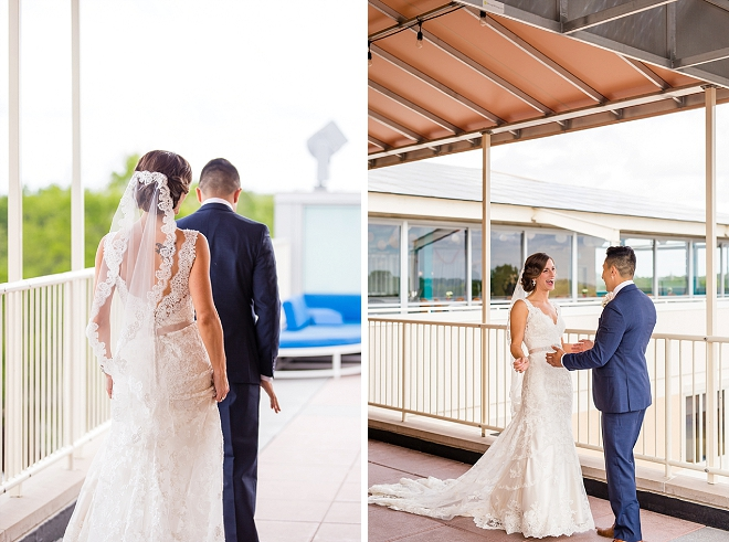 We love this couple's super sweet first look!