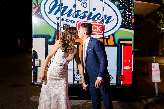 We love that this wedding ended with a taco food truck!