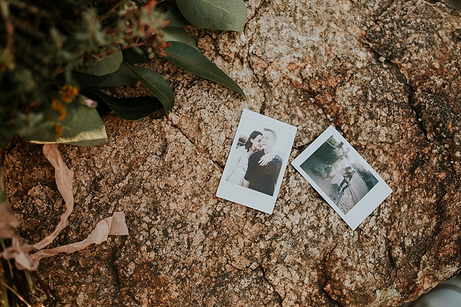 Super fun Polaroids at this darling couple's boho-chic engagement session!