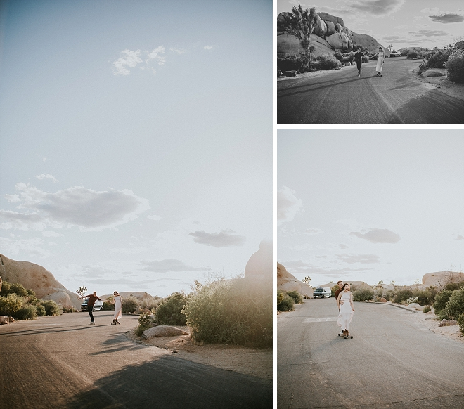 What a fun couple?! Skateboarding through the Joshua Tree National Park for their engagement session!? LOVE!