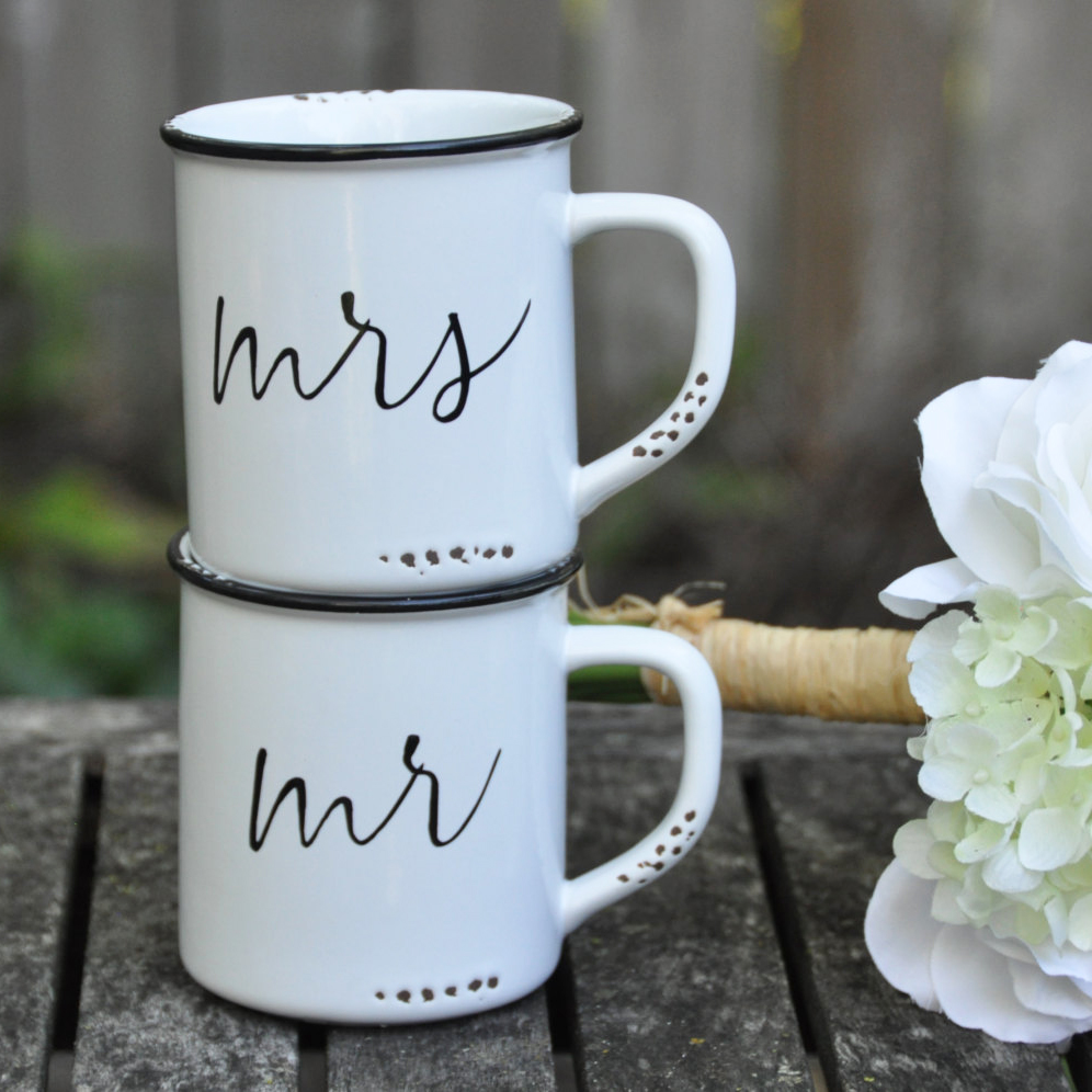 Darling Mr and Mrs camping mugs from Lace & Twig