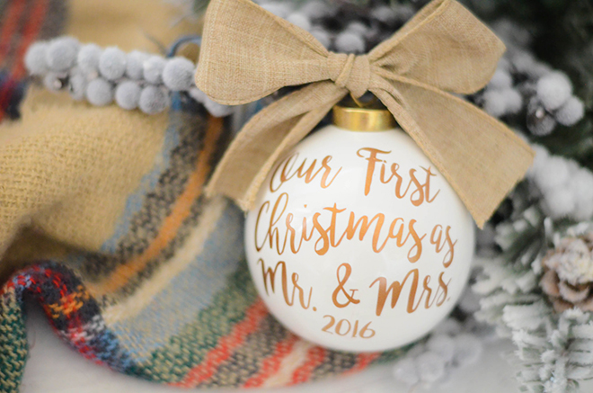 The cutest Our First Christmas Ornament by Happy Mail Vinyl on Etsy!