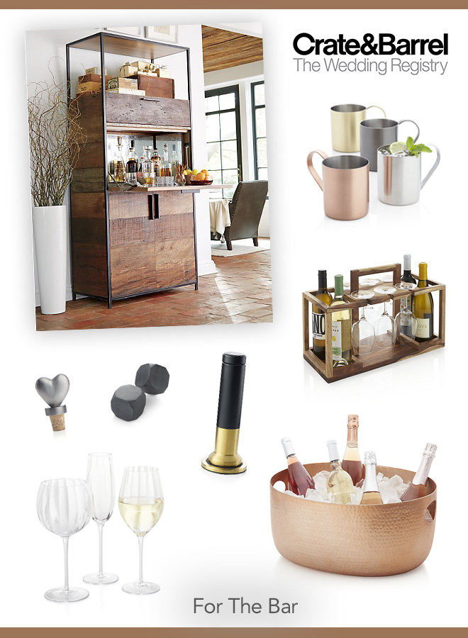 Our favorite Crate and Barrel wedding registry picks for the bar!