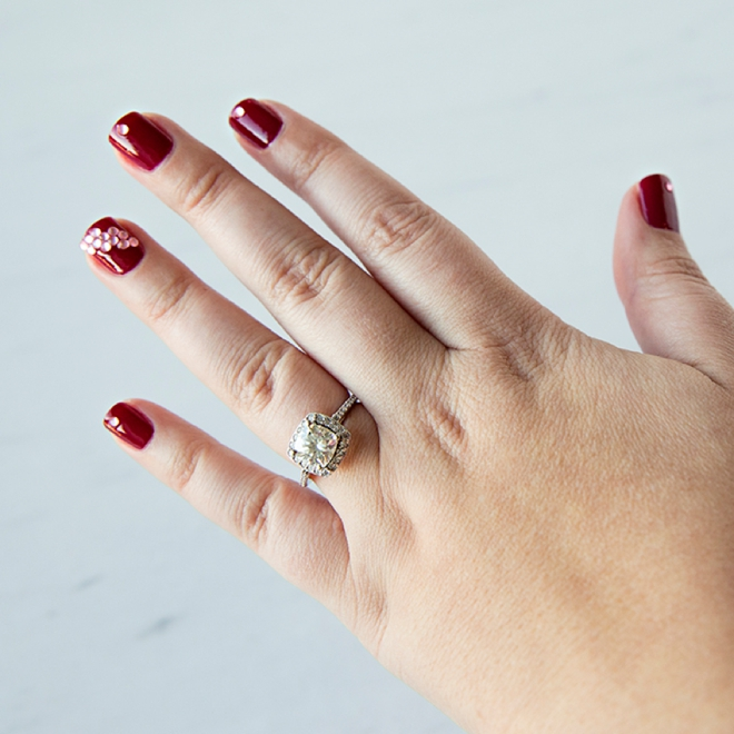 Learn how to embellish your signature wedding color for your bridal manicure!