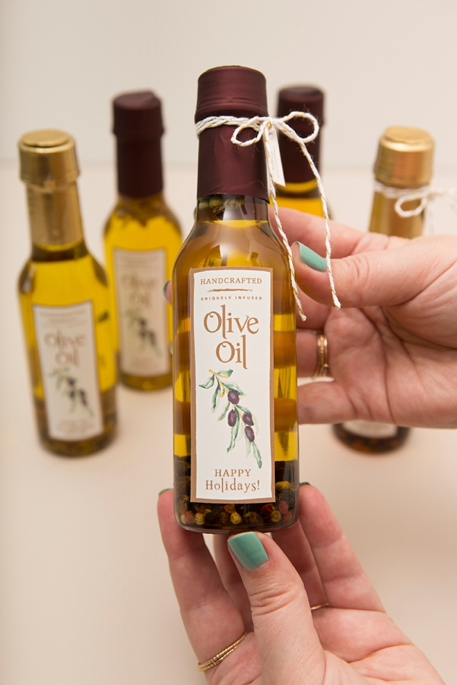 Learn how easy it is to make your own infused olive oil holiday gifts!