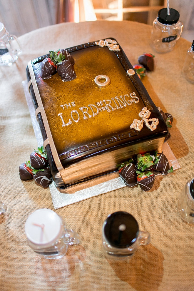 How great is this Lord of the Rings Groom cake!?