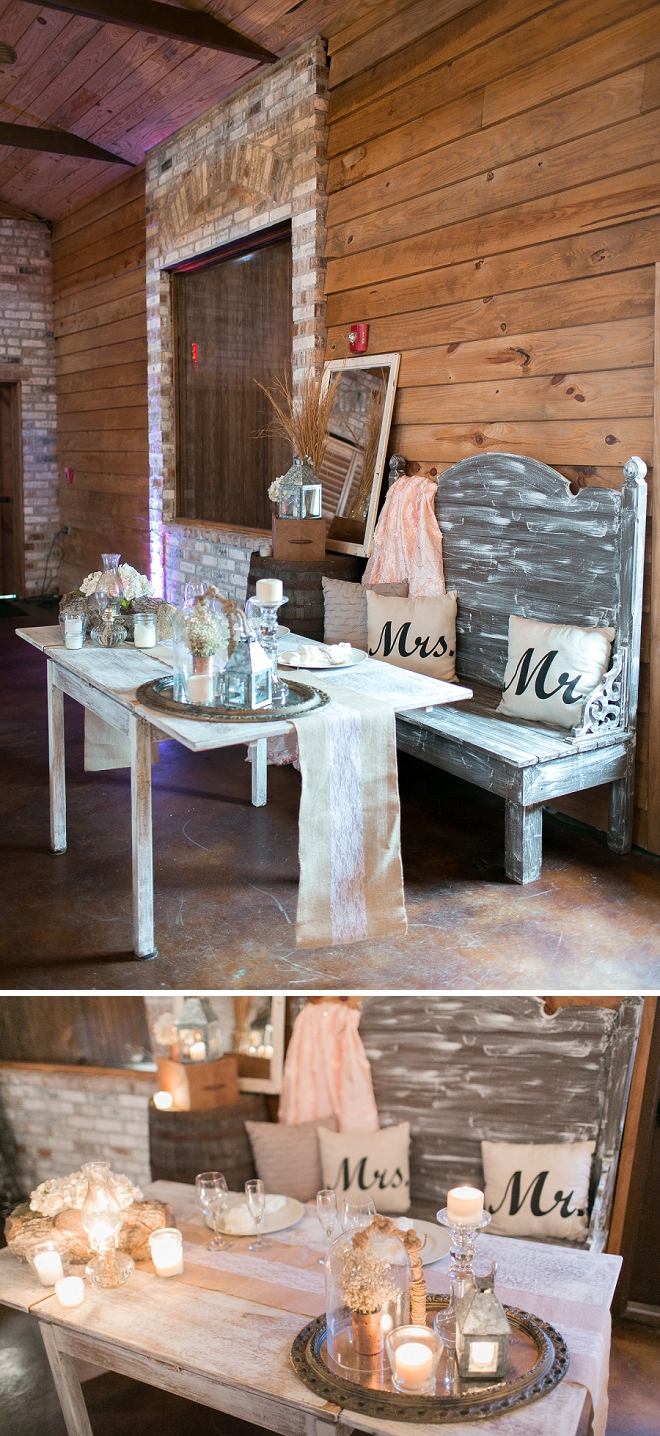 Loving this rustic sweetheart table at this Mr. and Mrs. barn reception!