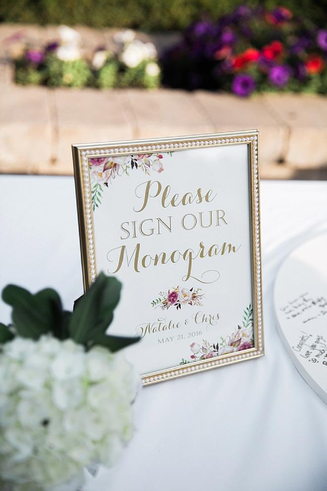 Such a cute monogram guest book idea!