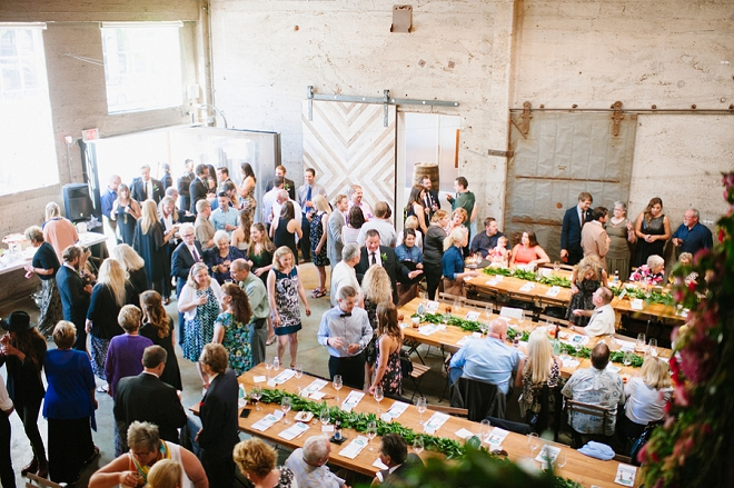 Such a fun industrial loft reception!