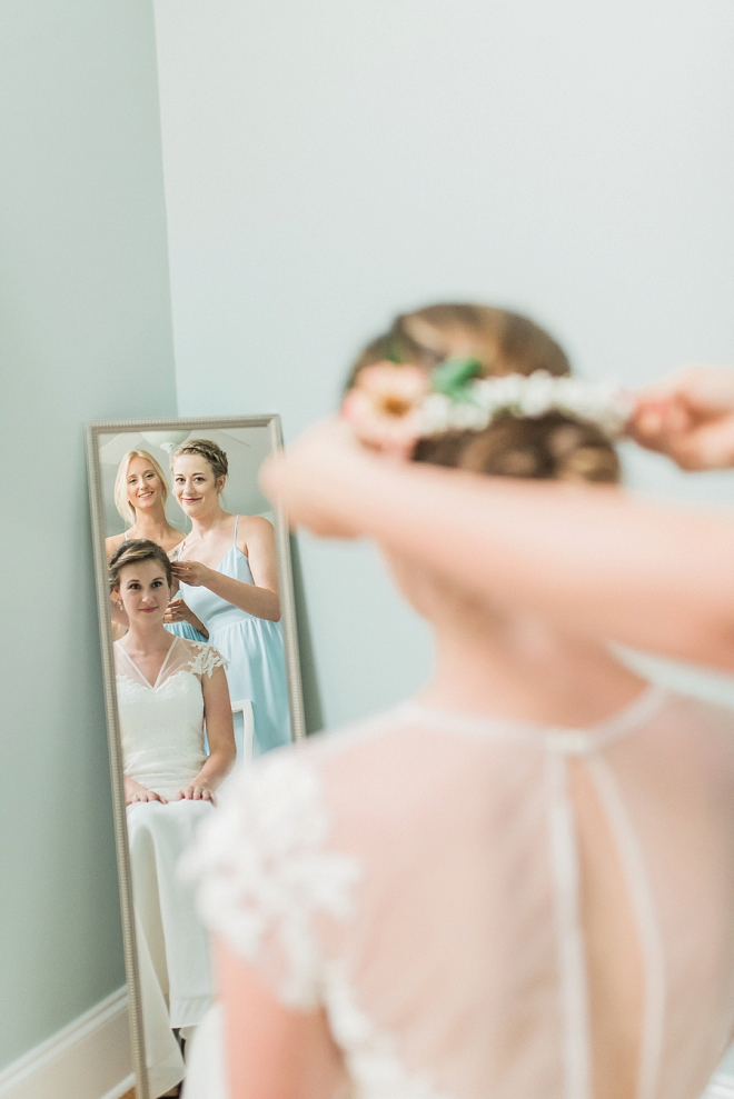 The bride getting her final touches for the ceremony!