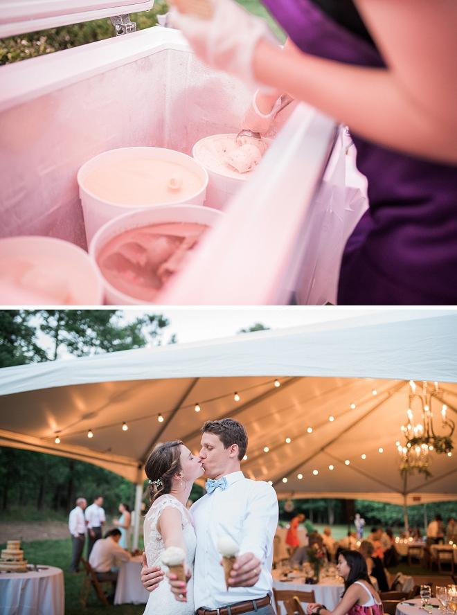 This couple had a fun ice cream bar at their wedding reception!
