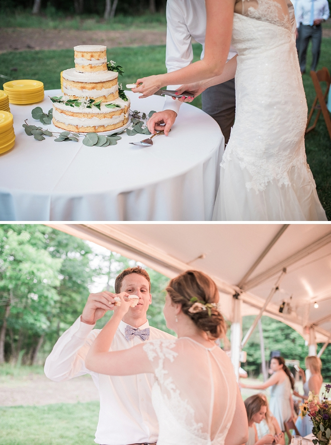 Cutting the cake at their gorgeous reception!