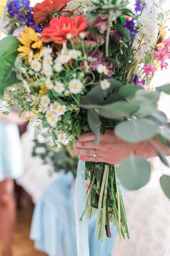 We love this Bride's handmade boho bouquet!