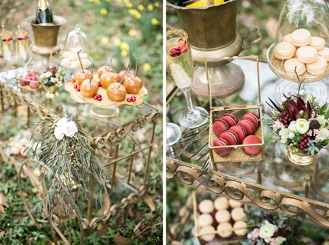We love this gorgeous dessert bar with candy apples!