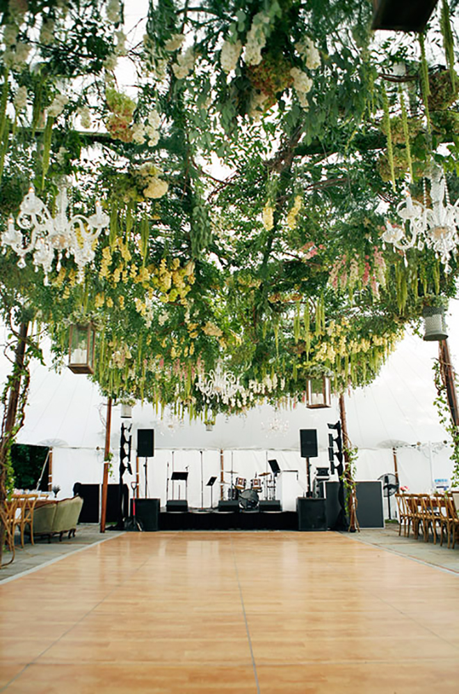 A garden on the ceiling might make your guests just want to stare and not dance.