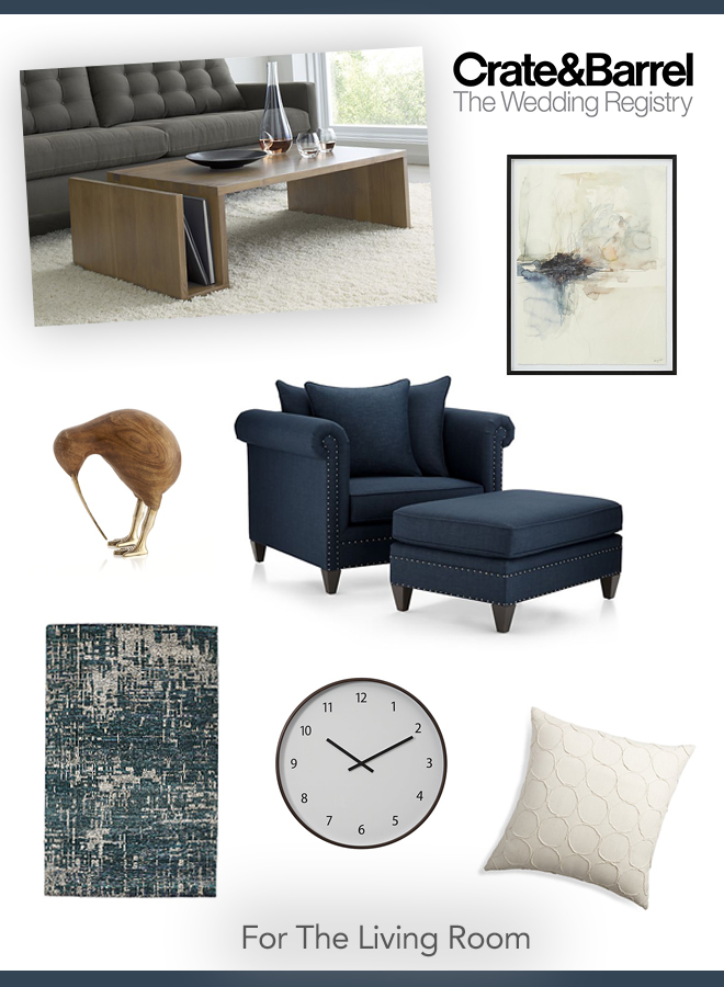 Our favorite Crate and Barrel wedding registry picks for the living room!