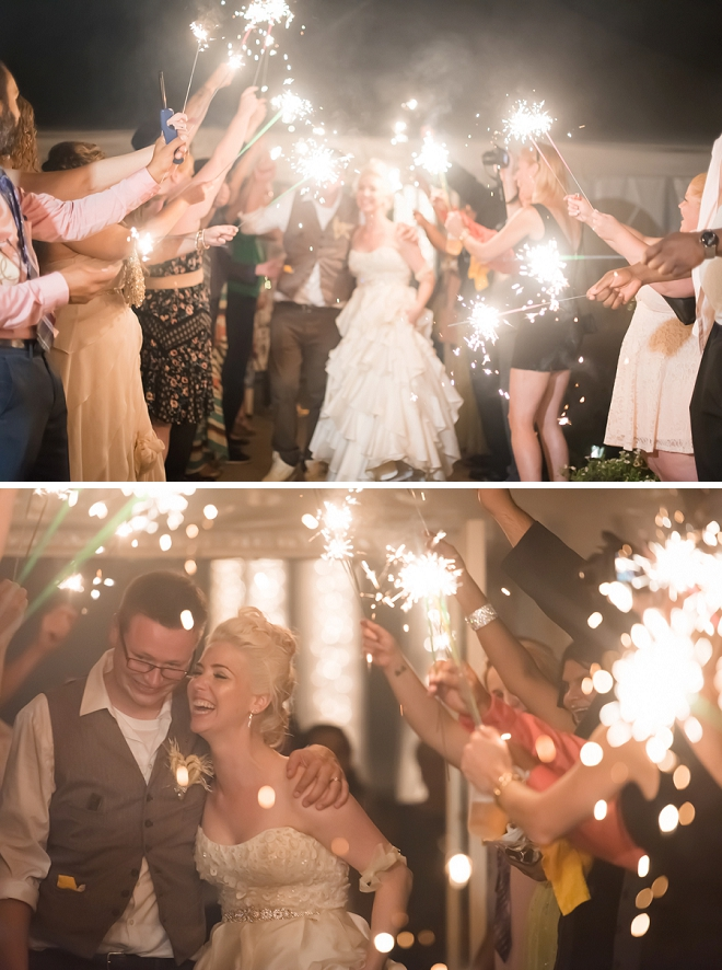This couple had the most fun sparkler exit!