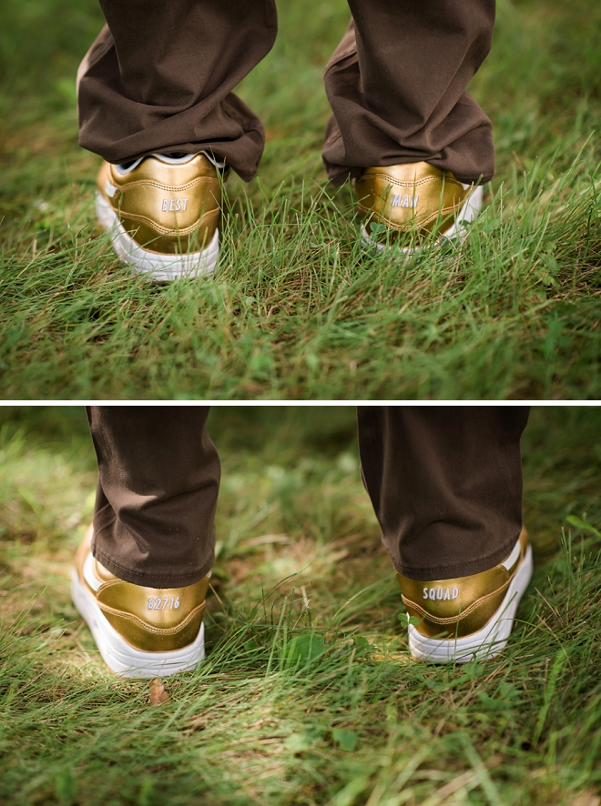 What a cool idea! The Groom created his Groomsmen shoes for the big day!