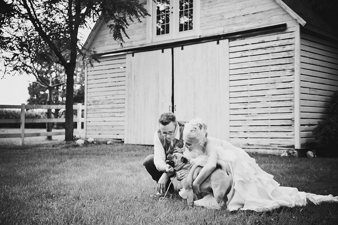 We love this snap of the new Mr. and Mrs. with their pup post-ceremony!
