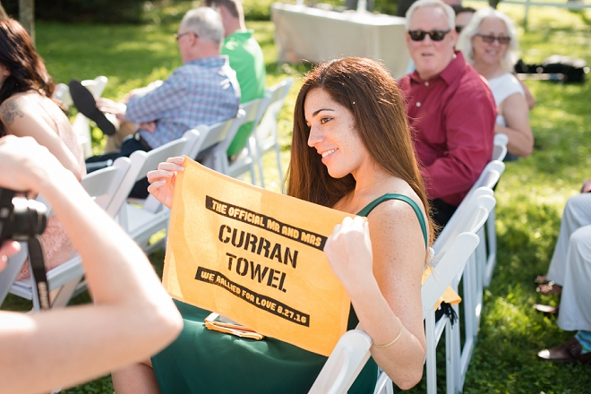 Terrible towels for the ceremony for this couple's Pittsburgh wedding!