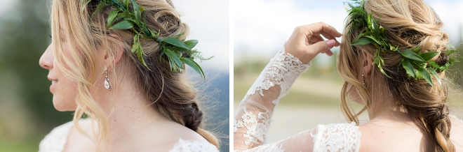 We love this stunning Bride's greenery crown perfect with her long sleeve wedding dress!