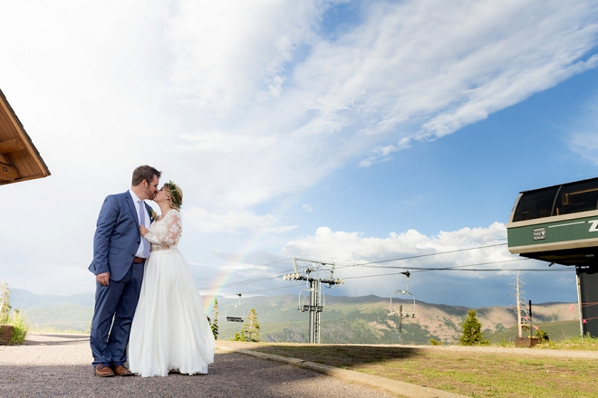 We are crushing hard on this couple and their dreamy Denver wedding! Check out that rainbow!