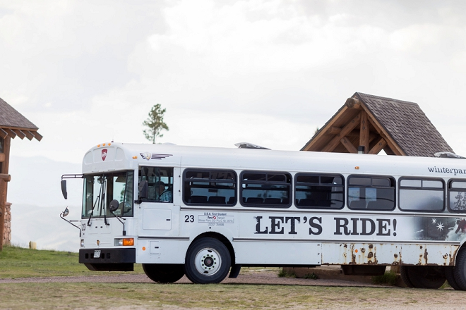 How fun is this transport bus at this couple's darling Denver wedding?!