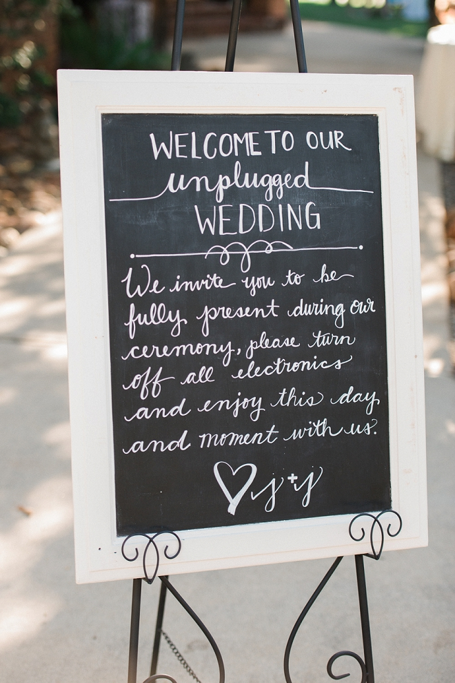 We love this Bride's unplugged ceremony sign!
