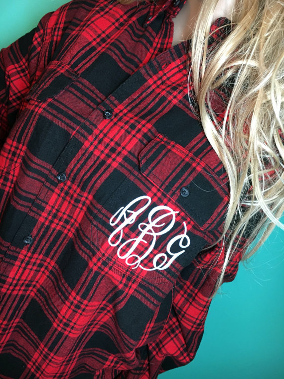 We love this comfy monogrammed plaid shirt dress!