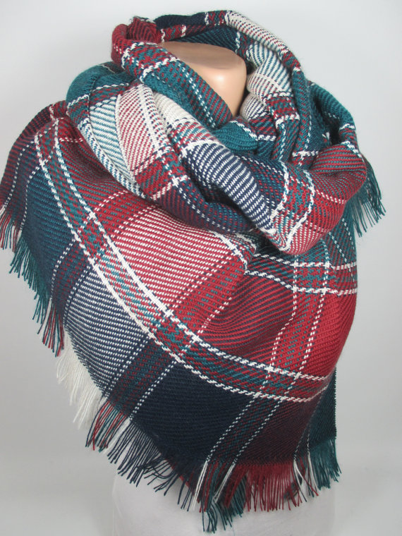 This plaid blanket scarf looks perfect for the chilly weather!