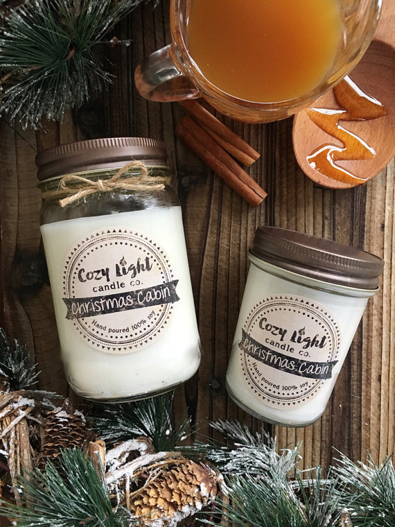 These Christmas cabin soy candles would make the perfect holiday gift!