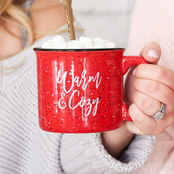 How sweet is this cozy campfire style mug?! We LOVE it for the holidays!