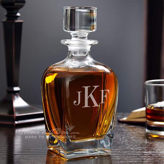 Your man will love this monogrammed whiskey decanter!
