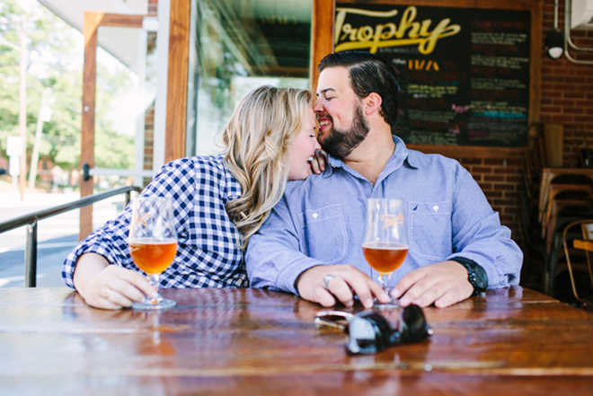 If you love beer, go to a brewery to shoot your engagement photos.