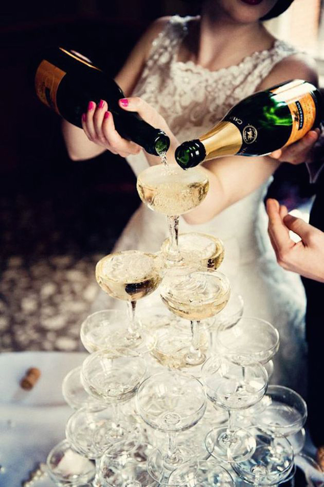 Stunning shot of a well crafted champagne tower!
