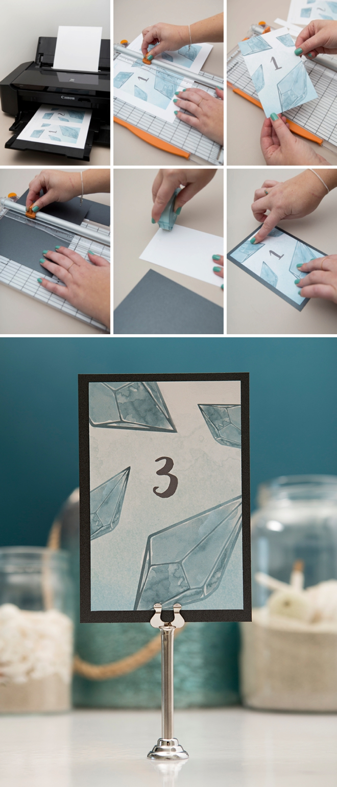 Download and print these teal diamond table numbers now for free!