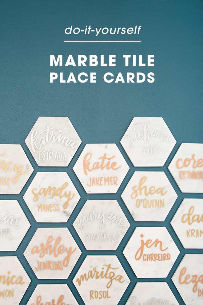 These diy hexagon marble tile place cards are a must see add the table number solutioingenieria Images
