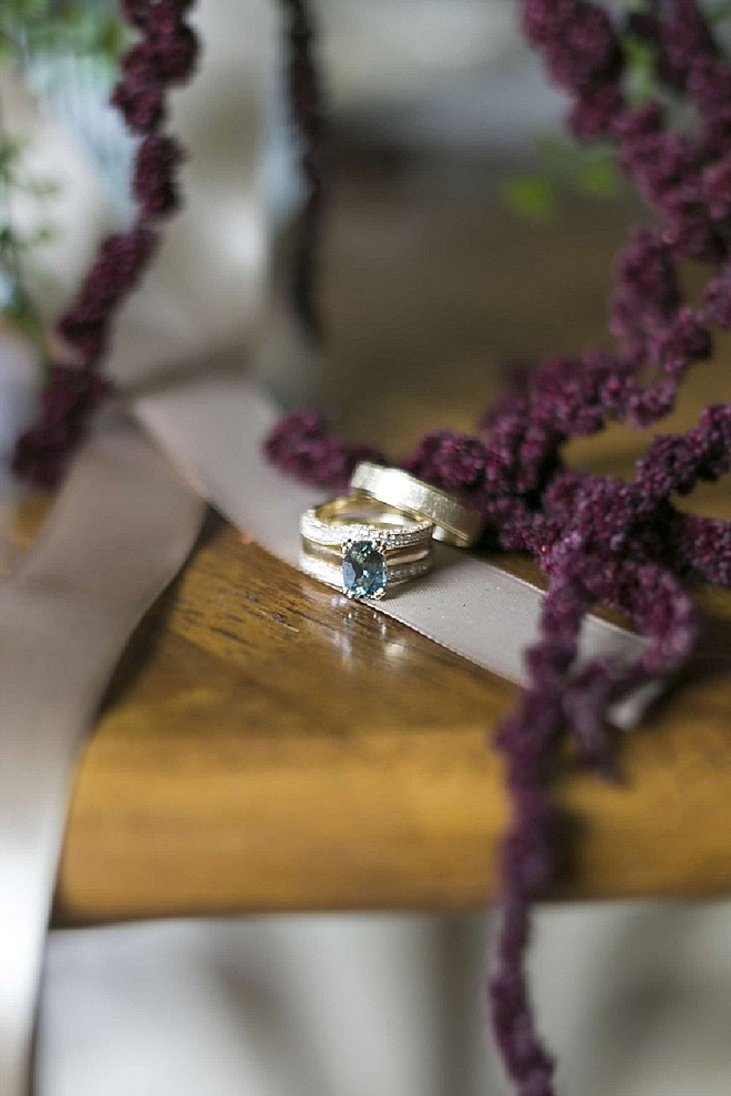 We love this Bride's unique blue gemstone engagement ring!