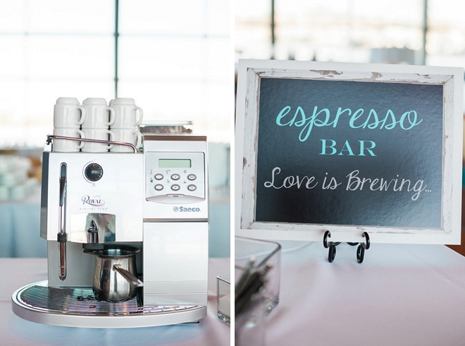 How darling is this Love is Brewing espresso bar at this couple's reception?!
