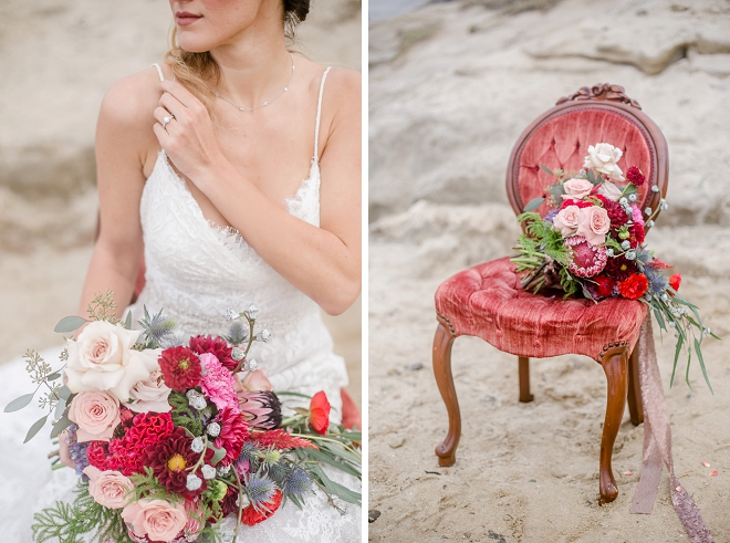 We're crushing on this bride's style and bouquet at this stunning styled wedding!