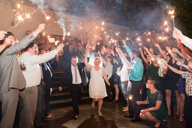 Leaving their wedding as Mr. and Mrs with their sparkler exit!